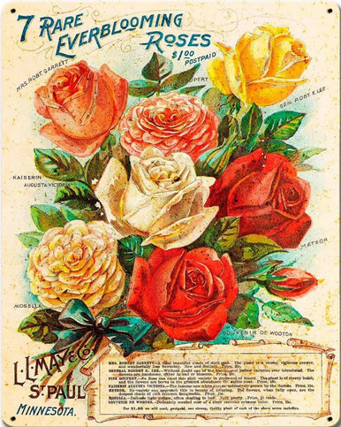 """HEAVY METAL SIGN, VINTAGE LOOK 7 RARE ROSES MEASURES 12"""" X 15"""" WITH HOLES FOR EASY MOUNTING."""