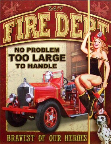 Photo of FIRE DEPARTMENT NO JOB TOO LARGE HAS GIRL SLIDING DOWN POLE, BRILLIANT COLORS SHARP DETAILS