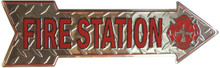 FIRE STATION ARROW SHAPED EMBOSSED SIGN HAS A DIAMOND PLATE BACKGROUND
