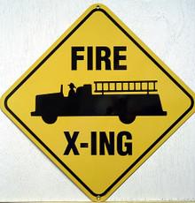 FIRE CROSSING PORCELAIN SIGN, SHARP DETAILS