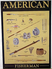 Photo of OLD FASHION AMERICAN FISHING EQUIPMENT SIGN GREAT DETAILS AND COLOR