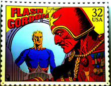 Photo of FLASH GORDON 32 CENT POSTAGE STAMP SIGN, GREAT COLORS AND GRAPHICS, THIS SIGN IS OUT OF PRINT WE HAVE TWO LEFT