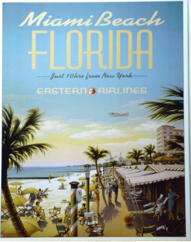 Photo of FLORIDA - EASTERN AIRLINES SIGN, BOAST JUST 10 HOURS FROM NEW YORK TO MIAMI BEACH FLORIDA (MUST BE TAXIING ALL THE WAY?) 1950'S COLORS AND GRAPHICS, GREAT SIGN