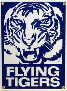 Photo of FLYING TIGERS PORCELAIN SIGN BLUE AND WHITE GRAPHICS, GROWLING TIGER'S FACE WITH THE WORDS, FLYING TIGERS