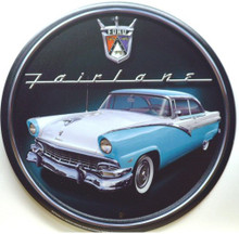 Photo of FORD FAIRLANE ROUND, FAIRLANE EMBLEM ON TOP FAIRLANE UNDER THAT WITH A GREAT PHOTO OF A BLUE AND WHITE FAIRLANE, VERY SHARP DETAILS, GREAT COLOR