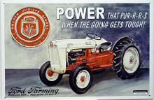 """Photo of FORD GOLDEN JUBILEE SHOWS THE JUBILEE EMBLEM AND FORD TRACTOR IN SHARP DETAILS, """"POWER THAT PUR-R-R-S WHEN THE GOING GETS TOUGH SIGN"""