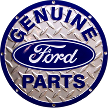 FORD PARTS EMBOSSED ROUND DIAMOND PLATE SIGN,