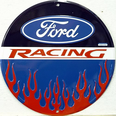 FORD RACING SIGN WITH FLAME GRAPHICS GREAT COLOR DEFINITION