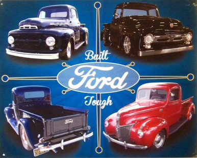 FORD TRUCK COLLAGE SIGN FOUR BEAUTIFUL OLD FORD TRUCKS, EXTRA SHARP GRAPHICS BOLD COLORS