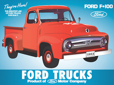 "ENAMEL FINISH ON HEAVY METAL FORD TRUCKS SIGN RED 1953 FORD F-100 PICK UP SHARE COLORS  THIS SIGN HAS HOLES IN EACH CORNER FOR EASY MOUNTING AND MEASURES 16""  X  12"""