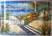 GARDEN BY THE SEA STEP W/RAIL OIL PAINTING