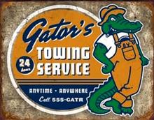GATOR'S TOWING SERVICE GARAGE SIGN