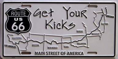GET YOUR KICKS ROUTE 66 LICENSE PLATE