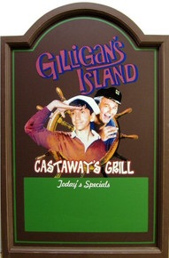 GILLIGANS CASTAWAY'S GRILL WOOD PUB SIGN  THIS SIGN IS OUT OF PRINT WE HAVE VERY FEW LEFT