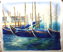 GONDOLAS AT ANCHOR medium sized OIL PAINTING