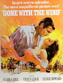 GONE WITH the WIND MOVIE POSTER SIGN SHOWS RHET LEANING OVER SCARLET GETTING READY TO KISS HER… GREAT DETAILS AND BRIGHT COLORS