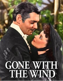 GONE with the WIND RHET & SCARLET SIGN, SHOWS THE SEAN WITH SCARLET WEARING A DRESS MADE FROM HER CURTAINS WITH RHET, DEEP RICH COLOR GREAT GRAPHICS