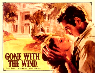 GONE WITH the WIND  AT TARA SIGN WITH RHET KISSING SCARLET, BRIGHT RICH COLOR AND DETAIL