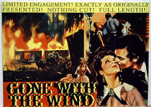 GONE WITH WIND SIGN WITH RHET KISSING SCARLET AND DIFFERENT SCENES IN THE BACKGROUN DEEP RICH COLOR AND GREAT DETAIL