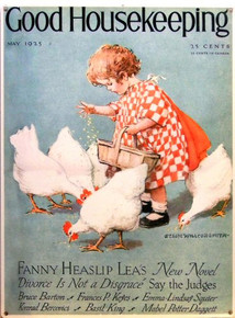 GOOD HOUSEKEEPING ENAMEL MAGAZINE COVER SIGN FROM MAY OF 1925… LITTLE GIRL FEEDING THE CHICKENS, GREAT COLOR AND DETAIL
