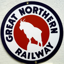 "GREAT NORTHER RR TRAIN PORCELAIN SIGN THIS SIGN IS ROUND WITH A MOUNTAIN GOAT STANDING ON A STEEP ROCK IN THE CENTER WITH ""GREAT NORTHERN RAILWAY""  BOLD CRISP COLORS, NICE DETAIL"