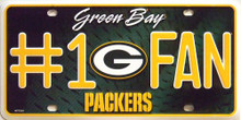 GREEN BAY PACKERS FOOTBALL #1 FAN LICENSE PLATE