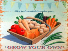 GROW YOUR OWN ENAMEL VEGETABLES SIGN NICE PASTEL COLORS AND GRAPHICS
