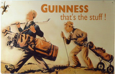 GUINNESS GOLFERS BEER SIGN, NOTICE THE BOTTLE IN THE BAG..