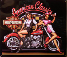 HARLEY AMERICAN CLASSICS DIE CUT EMBOSSED MOTORCYCLE SIGN, GIRL ON A BIKE AND HER FRIEND THE WAITRESS, GREAT COLOR SUPER DETAILS