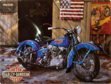 HARLEY AT YOUR SERVICE  EMBOSSED MOTORCYCLE SIGN, GREAT ATTENTION TO DETAILS AND RICH COLORS