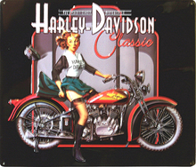 HARLEY CLASSIC EMBOSSED MOTORCYCLE SIGN, AND THERE IS A BIKE THERE TOO!
