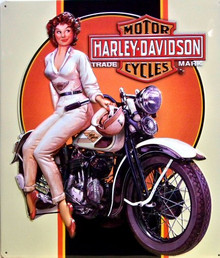 HARLEY DREAMIN BABE EMBOSSED MOTORCYCLE SIGN, GREAT GRAPHICS, EMBOSSING AND COLOR