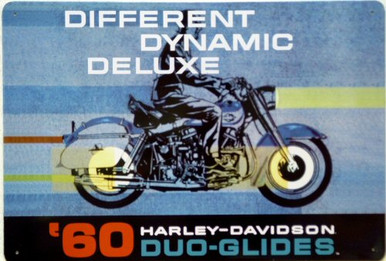 HARLEY  DUO-GLIDE` MOTORCYCLE SIGN, FROM THE 1960 AD CAMPAIGN