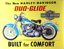 HARLEY DUO-GLIDE EMBOSSED MOTORCYCLE SIGN. VERY NICE DETAILS, GREAT COLOR AND GRAPHICS