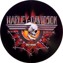 HARLEY GEARHEAD SKULL EMBOSSED  MOTORCYCLE SIGN, RICH COLORS AND REALLY GREAT DETAILS