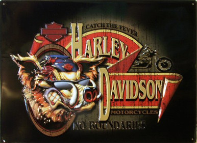 HARLEY NO BOUNDRIES EMBOSSED MOTORCYCLE SIGN