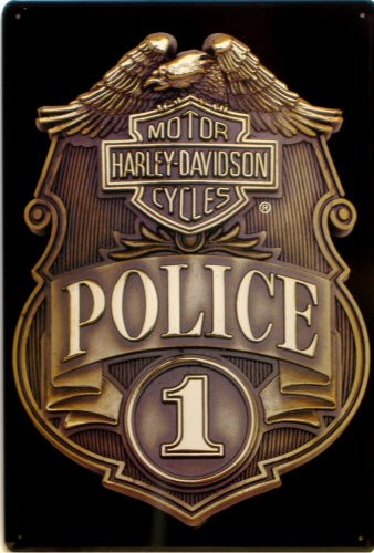HARLEY POLICE BADGE EMBOSSED  MOTORCYCLE SIGN