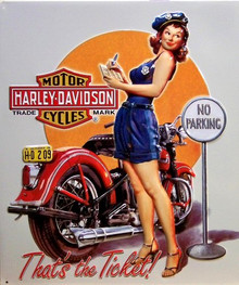 HARLEY TICKET BABE EMBOSSED  MOTORCYCLE SIGN