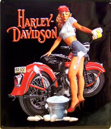 HARLEY WASH BABE (EMBOSSED) MOTORCYCLE SIGN