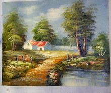 HOUSE BY STREAM (RED ROOF) smallest OIL PAINTING