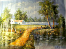 HOUSE BY STREAM TAN ROOF large OIL PAINTING