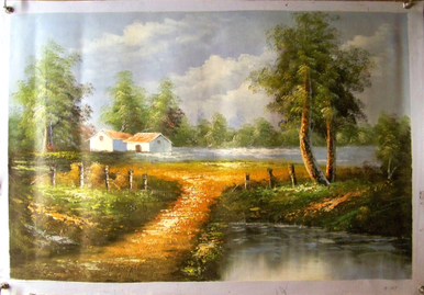 HOUSE BY STREAM WITH TAN ROOF medium large OIL PAINTING
