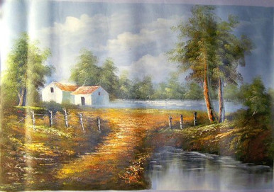 HOUSE BY STREAM W/TAN ROOF medium large OIL PAINTING