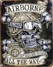 "82ND AIRBORNE SKULL METAL SIGN MEASURES 12"" X 16"" WITH HOLES FOR EASY MOUNTING"