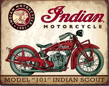 INDIAN SCOUT MODEL 101 MOTORCYCLE SIGN