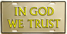 IN GOD WE TRUST (SILVER) LICENSE PLATE