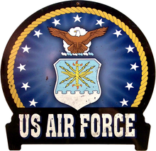 "AIR FORCE Sign Size: 16"" w X 15 1/2"" h With Pre-drilled Hole(s) for easy hanging Material:HEAVY DUTY Metal SUBLIMATION PROCESS"