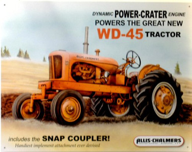 Photo of ALLIS CHALMERS  WD 45  TRACTOR SIGN, GREAT FOR THE ALLIC CHALMERS FAN'S COLLECTON