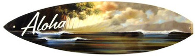 """Photo of ALOHA """"SURFBOARD"""" SHAPED SIGN WITH BEAUTIFUL SUNSET OVER THE WAVES, ENAMEL FINISH HAS DEEP RICH COLORS"""