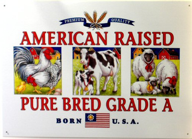 Photo of AMERICAN BRED, RICH COLORS AND GRAPHICS MAKE THIS A GREAT SIGN FOR THE FARM